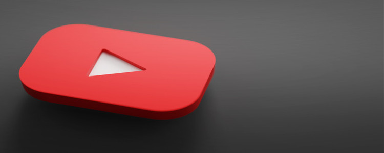 Youtube Logo 3D Rendering close up Youtube channel promotion