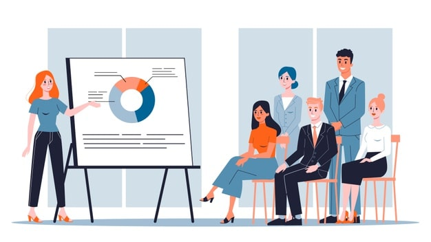 Woman making business presentation front group
