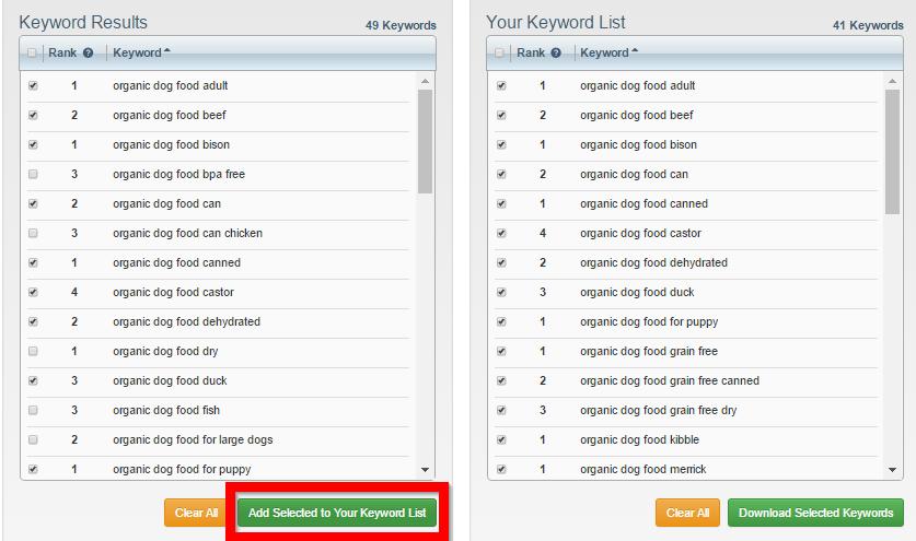 keyword-list