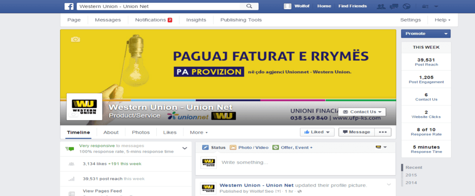 Western Union Facebook Marketing