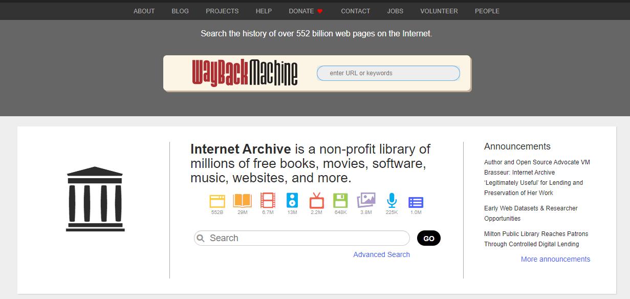 archive.org Screenshot