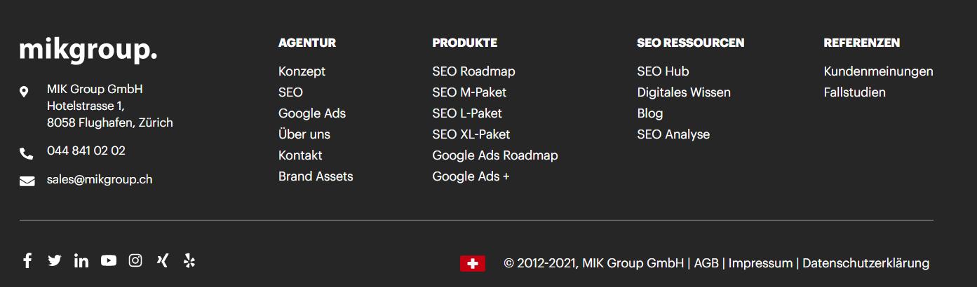 Beispiel MIK Group Sitemap