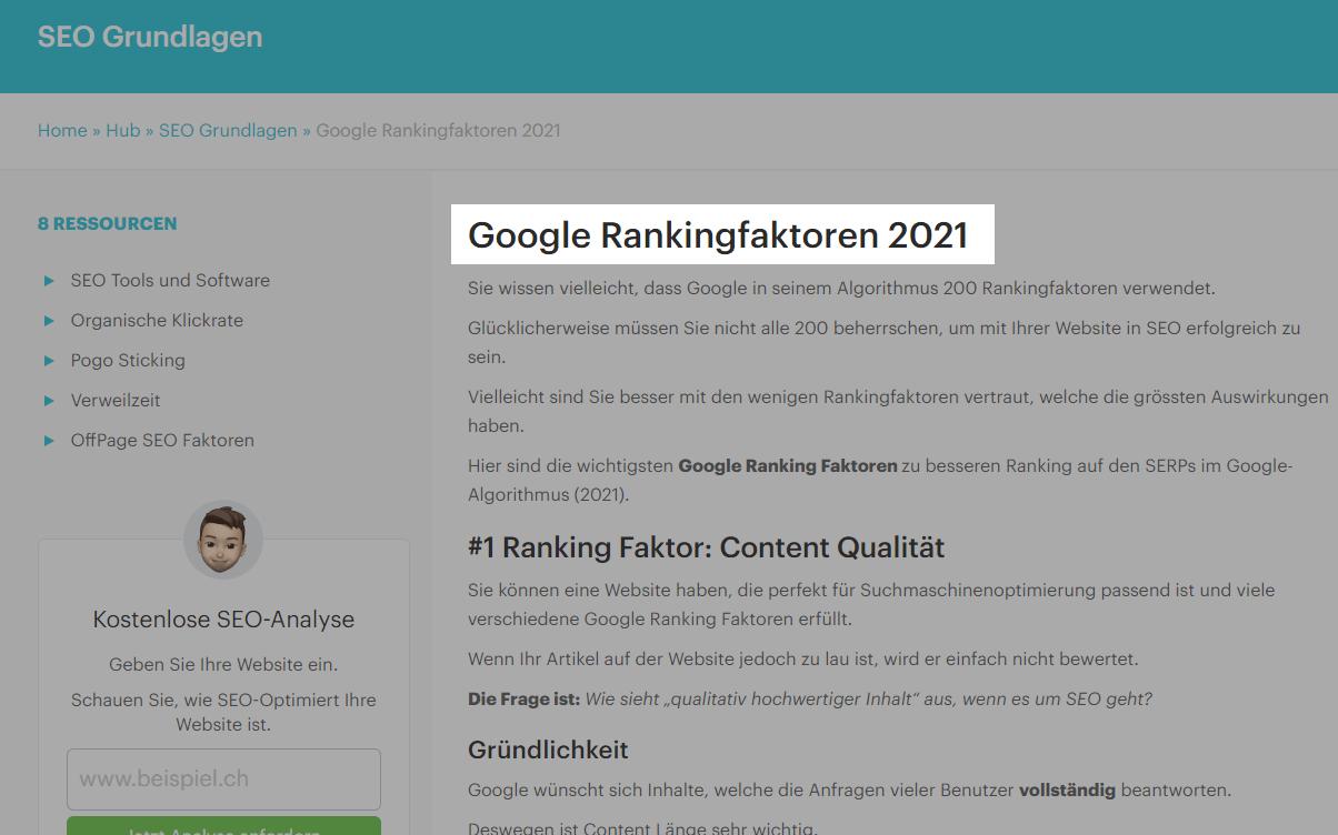 Google Rankingfaktoren 2021 - Beispiel Titel