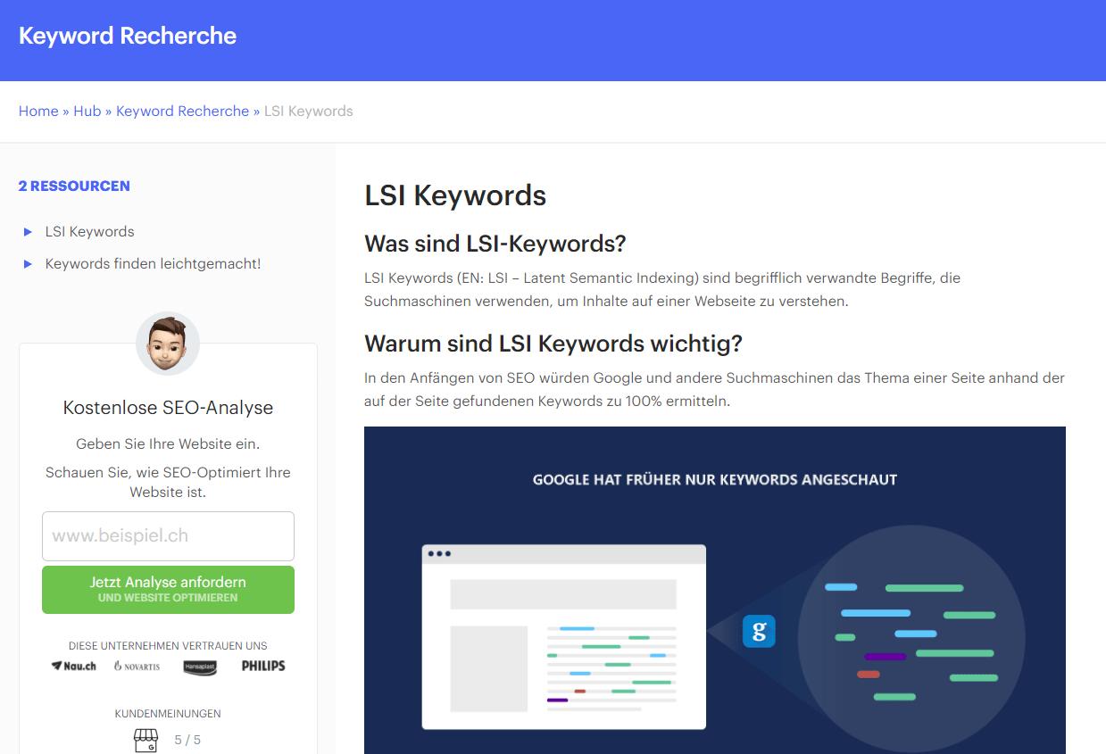 LSI-Keywords Beispiel mit Links