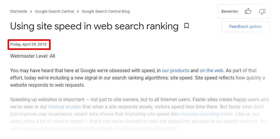 Page Speed als Ranking