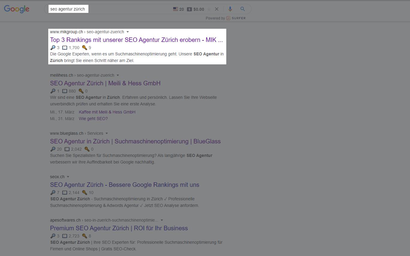Beispiel Google Suchresultate MIK Group