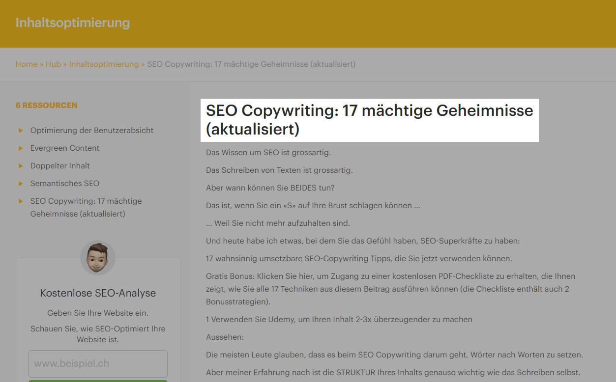 SEO Copywriting Beispiel