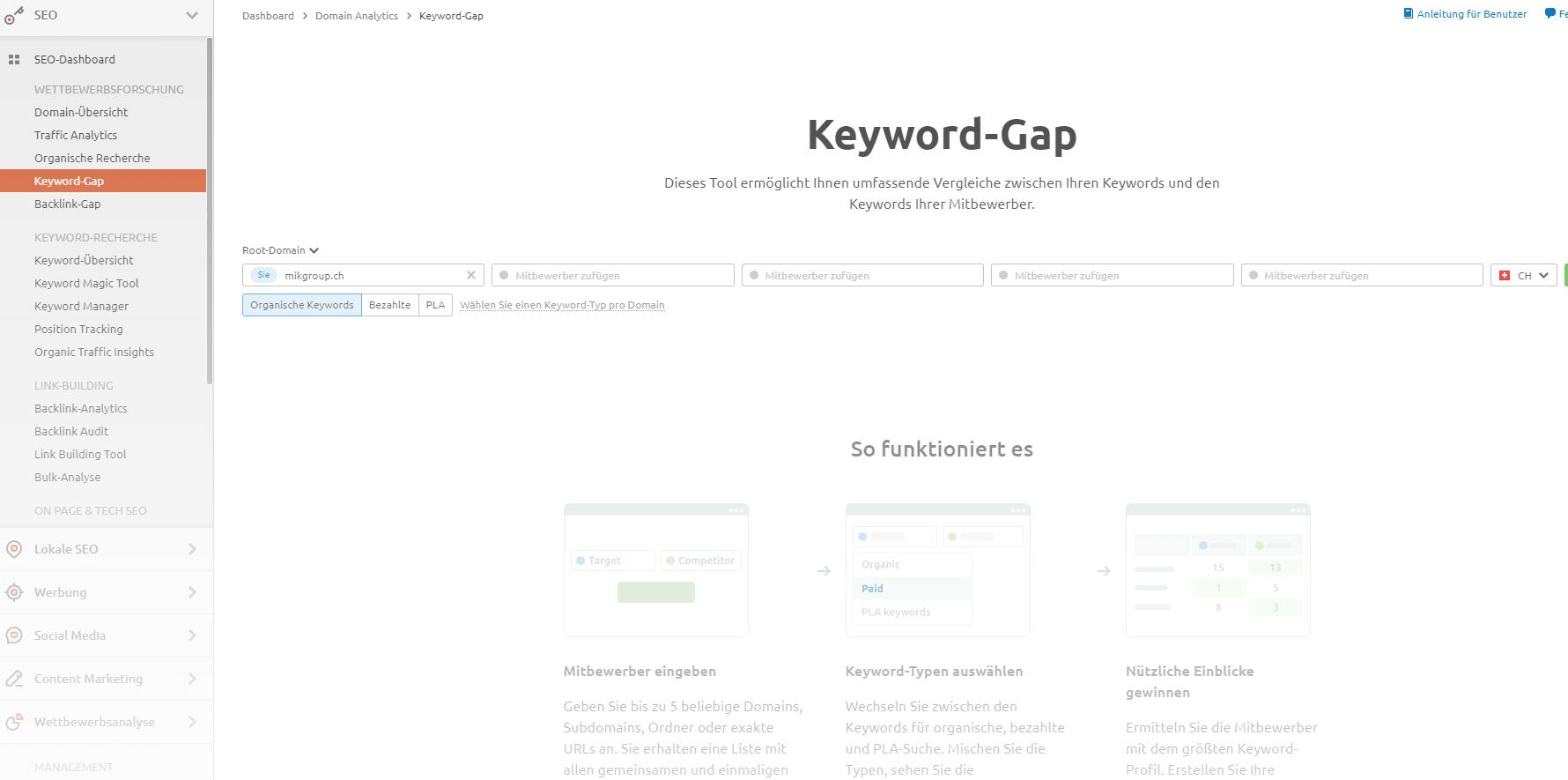 Keyword Gap SEMrush