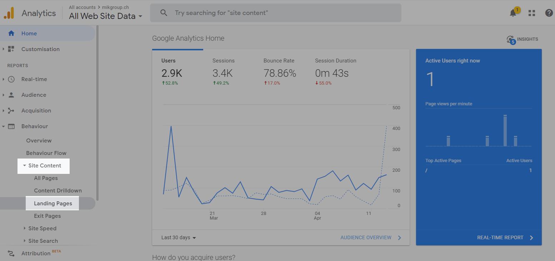 Landingpages Google Analytics - Inhaltsprüfung