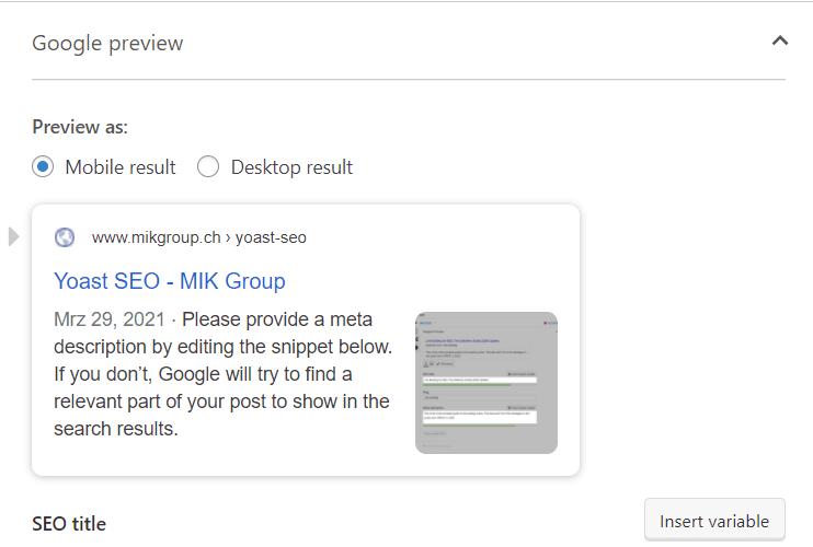 Yoast SEO Beispiel MIK Group