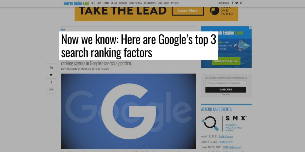 3 Ranking Factors